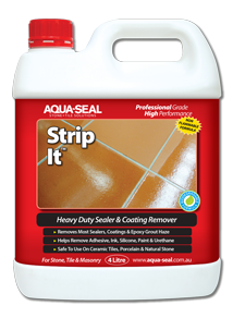 strip-it, heavy duty sealer and coating remover, removes epoxy grout haze, paint marks and strips old sealers and wax coatings