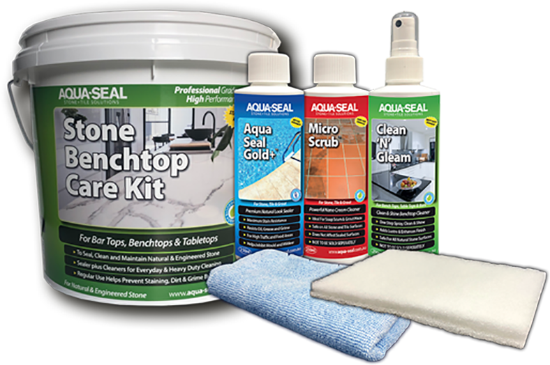 Cleaning and sealing kit for stone bench tops